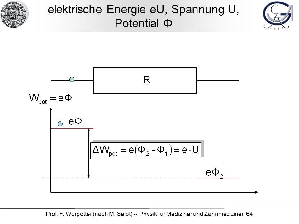 elektrische Energie eU, Spannung U, Potential Φ