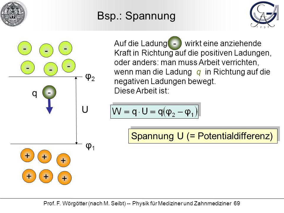 Bsp.: Spannung - - - - - - - φ2 q - U