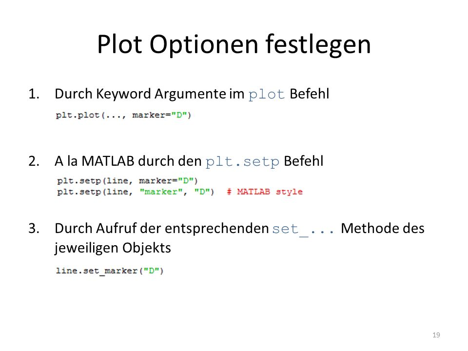 Plot Optionen festlegen