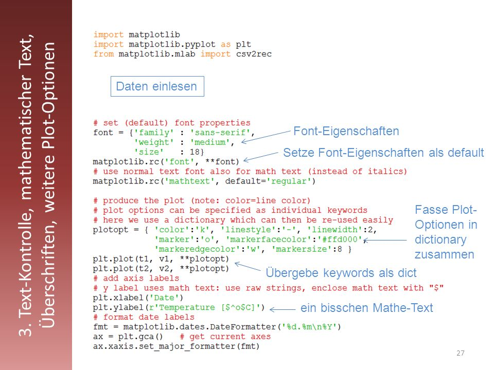 3. Text-Kontrolle, mathematischer Text, Überschriften, weitere Plot-Optionen