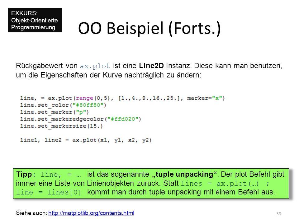 EXKURS: Objekt-Orientierte Programmierung. OO Beispiel (Forts.) Rückgabewert von ax.plot ist eine Line2D Instanz. Diese kann man benutzen,