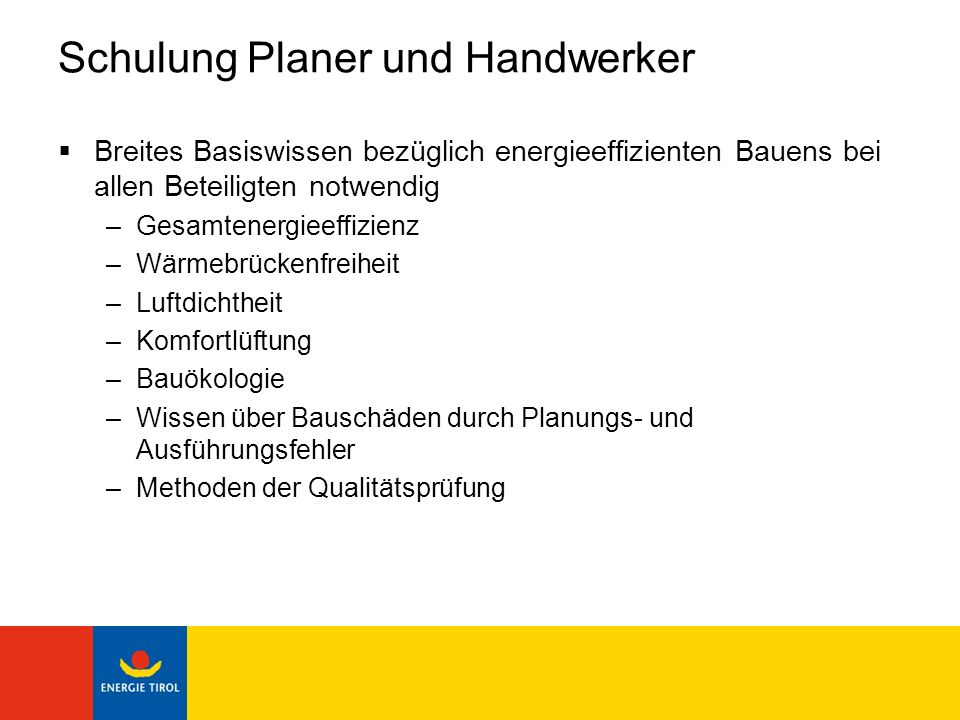 Schulung Planer und Handwerker