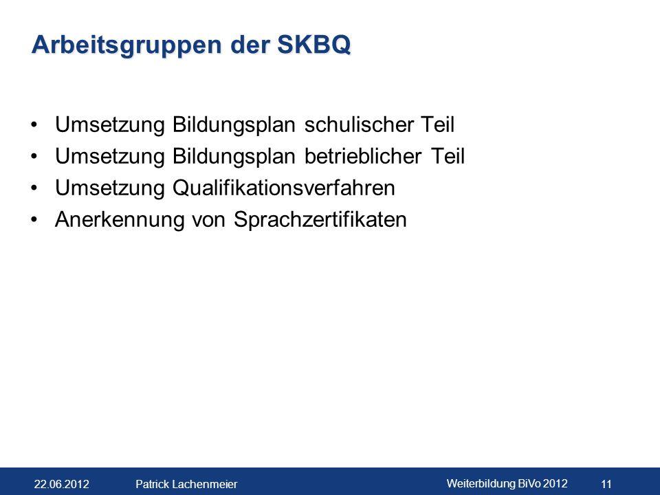Arbeitsgruppen der SKBQ