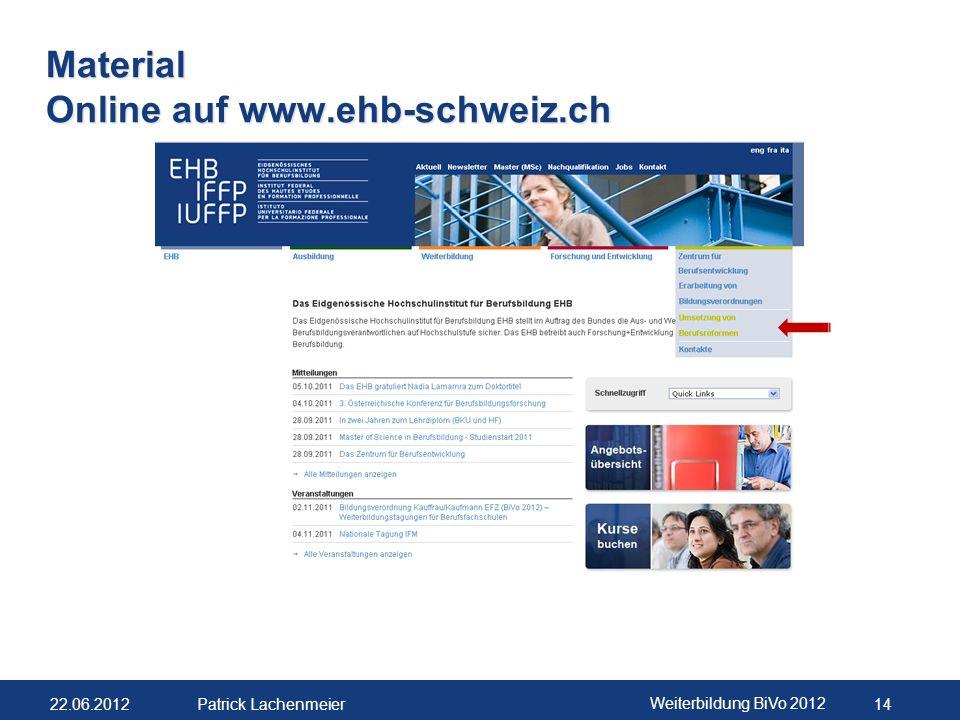 Material Online auf www.ehb-schweiz.ch