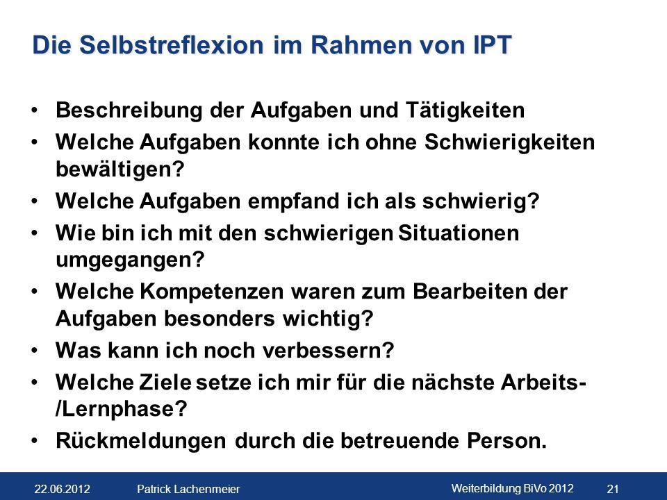 Die Selbstreflexion im Rahmen von IPT