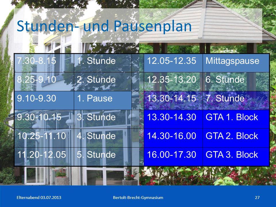 Stunden- und Pausenplan