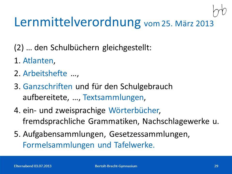 Lernmittelverordnung vom 25. März 2013
