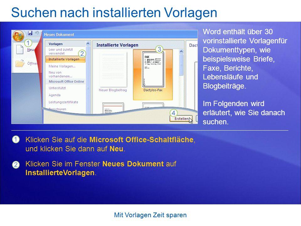 Suchen nach installierten Vorlagen
