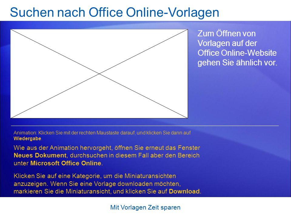 Suchen nach Office Online-Vorlagen