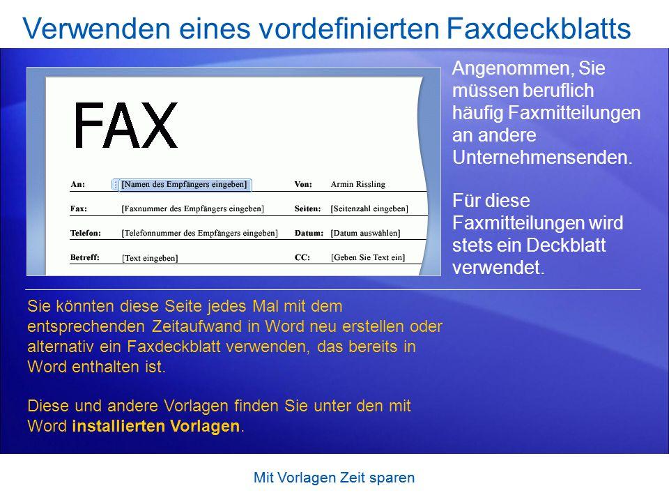 Verwenden eines vordefinierten Faxdeckblatts