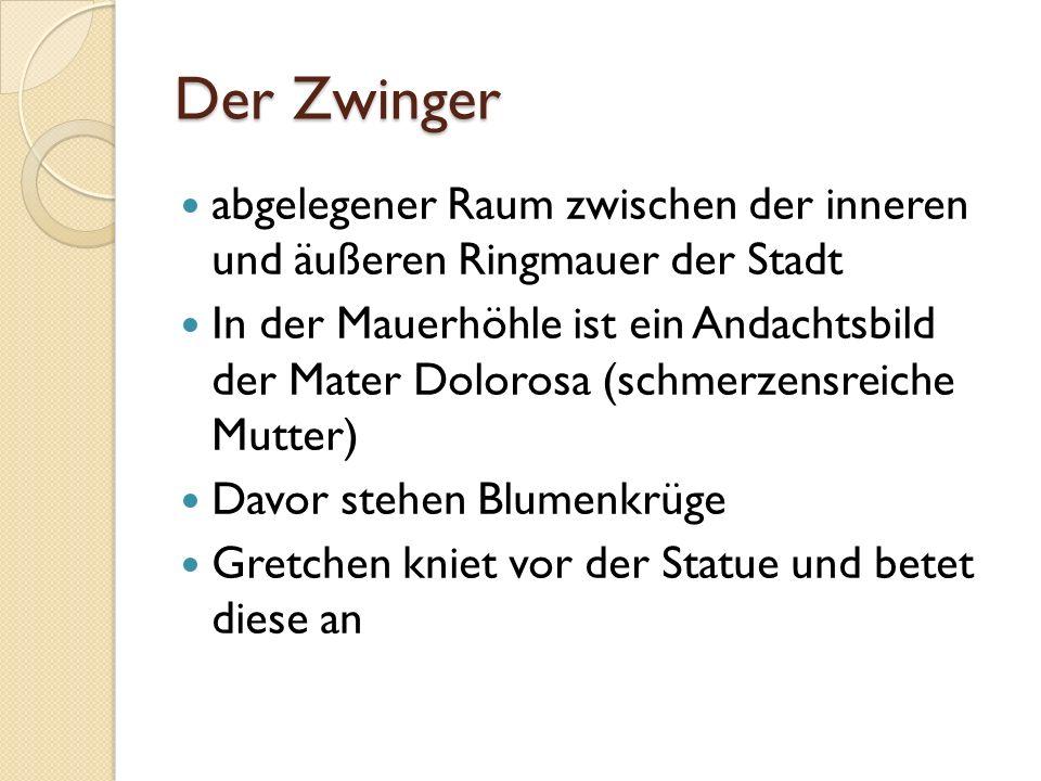Der Zwinger abgelegener Raum zwischen der inneren und äußeren Ringmauer der Stadt.