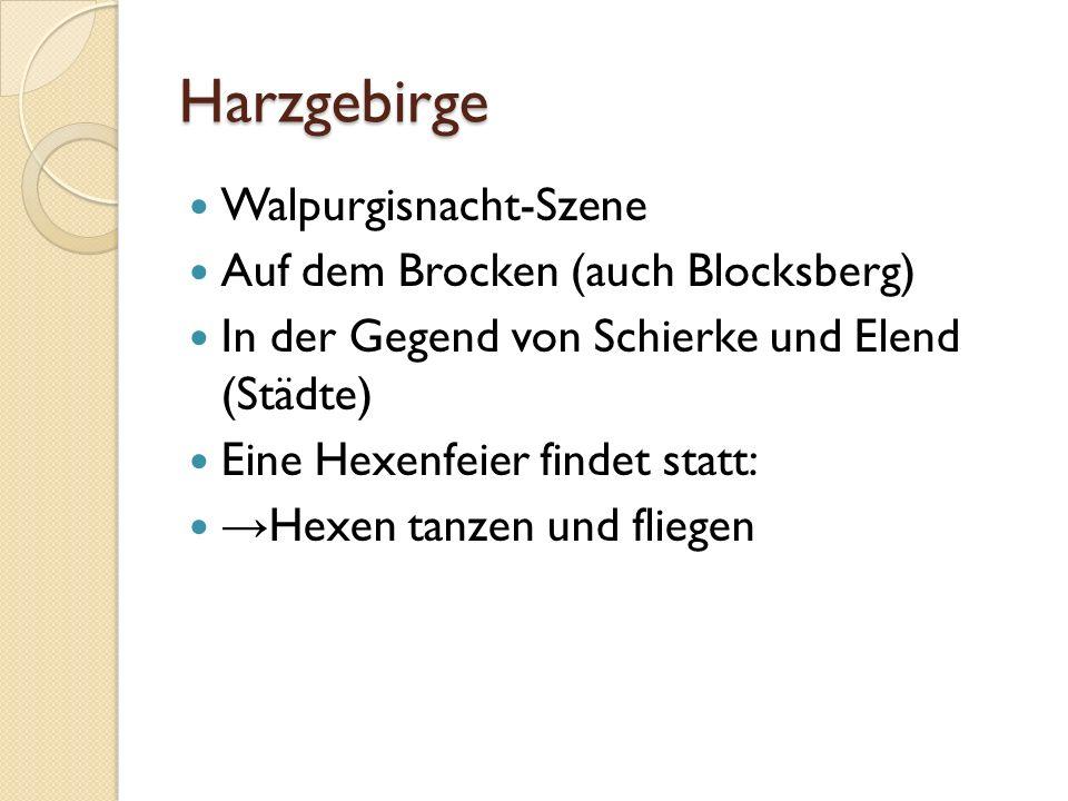 Harzgebirge Walpurgisnacht-Szene Auf dem Brocken (auch Blocksberg)