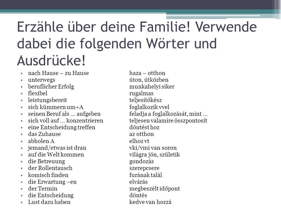 Erzähle über deine Familie