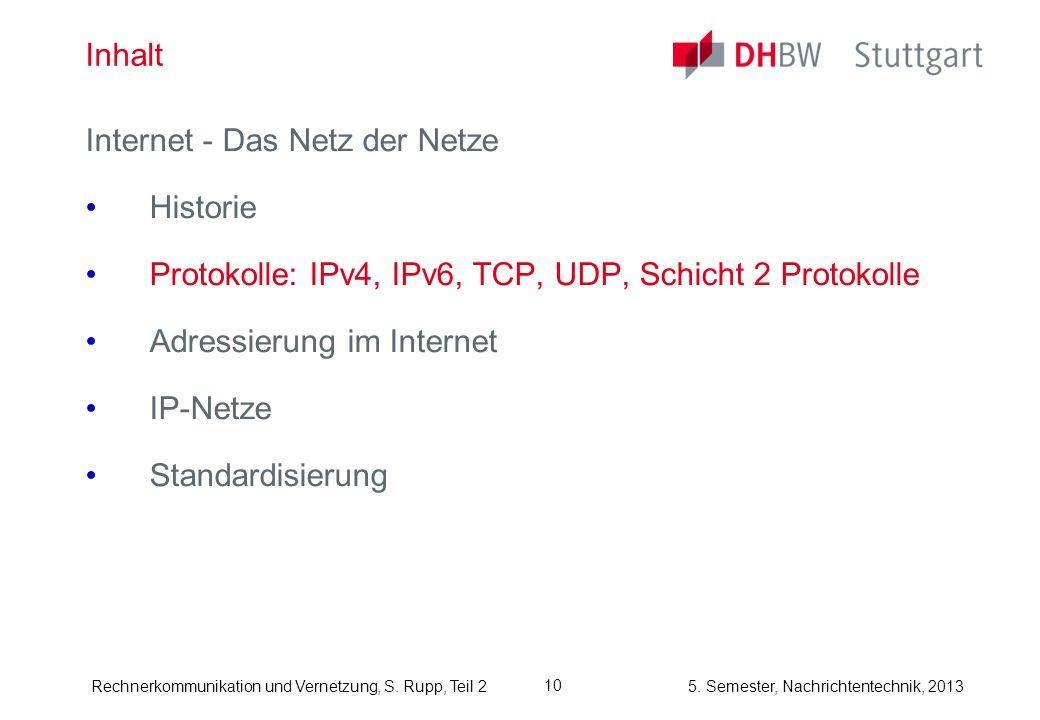 InhaltInternet - Das Netz der Netze. Historie. Protokolle: IPv4, IPv6, TCP, UDP, Schicht 2 Protokolle.
