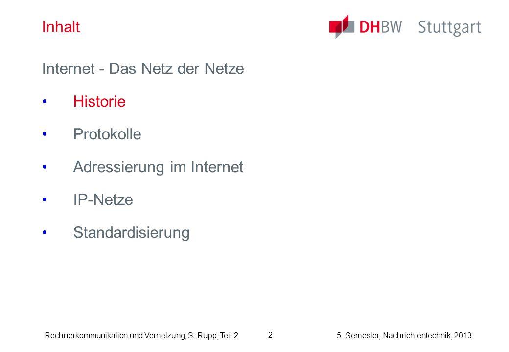 InhaltInternet - Das Netz der Netze.Historie. Protokolle.