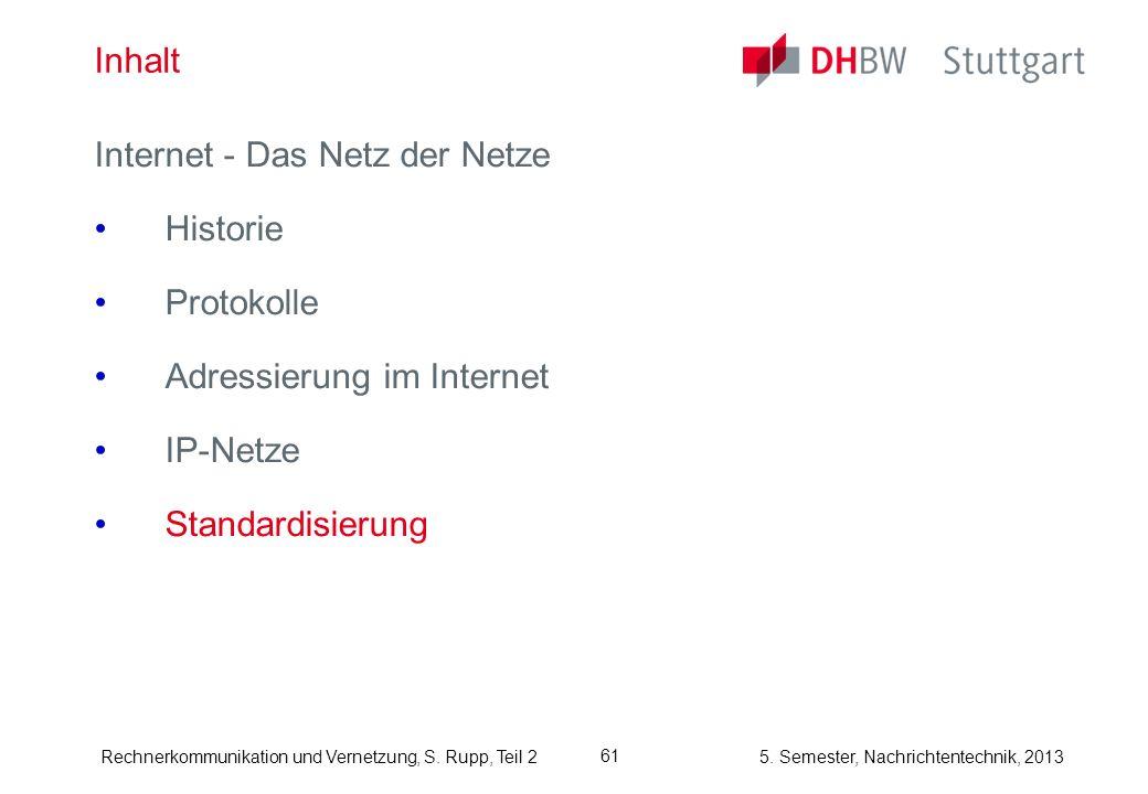 Inhalt Internet - Das Netz der Netze. Historie. Protokolle. Adressierung im Internet. IP-Netze.