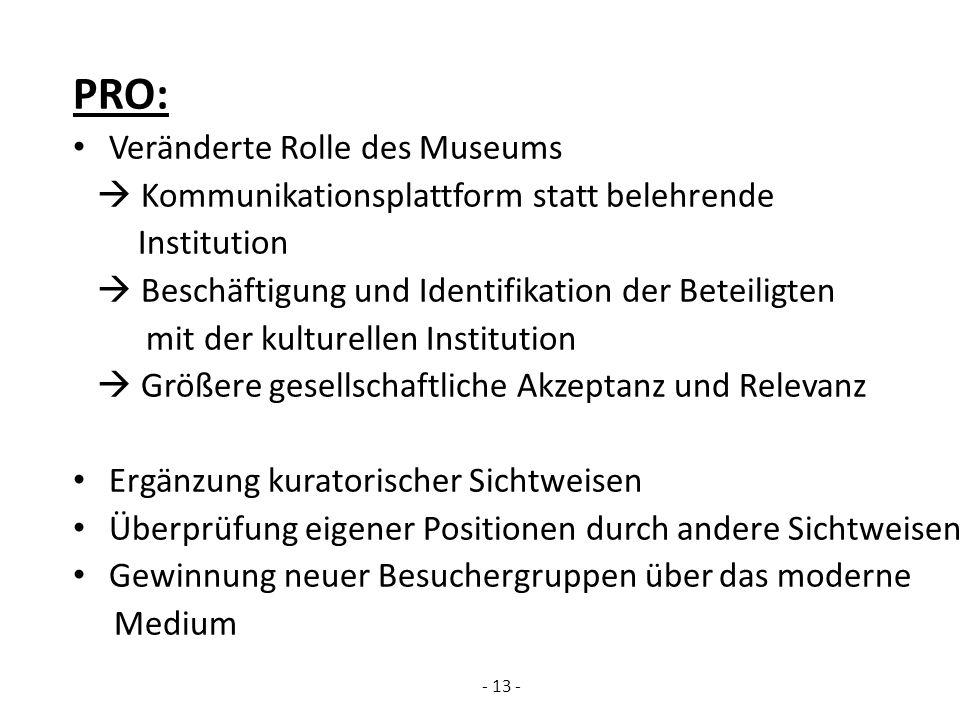 PRO: Veränderte Rolle des Museums