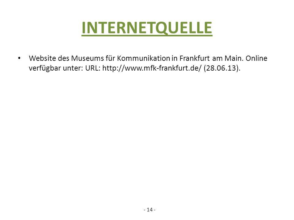 INTERNETQUELLE Website des Museums für Kommunikation in Frankfurt am Main. Online verfügbar unter: URL: http://www.mfk-frankfurt.de/ (28.06.13).