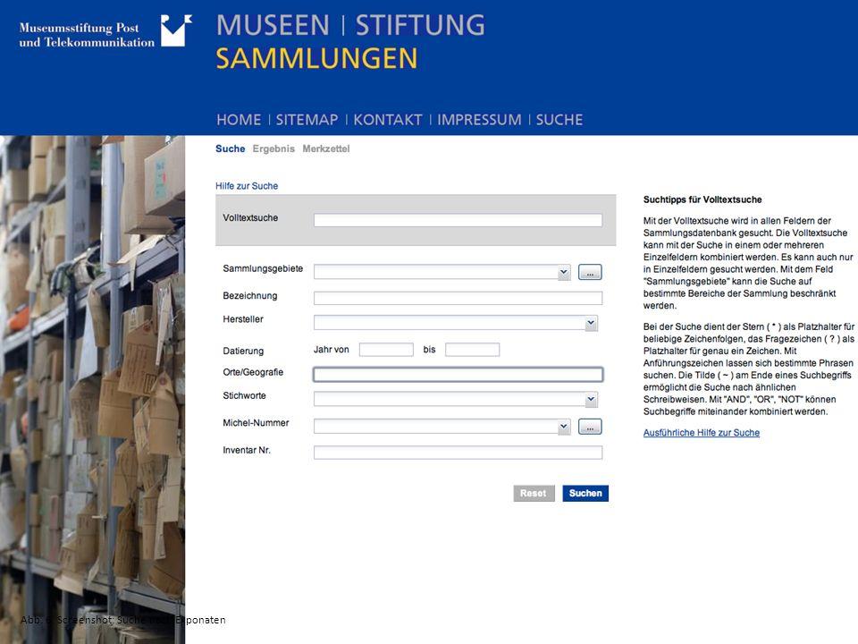 Abb. 6: Screenshot: Suche nach Exponaten