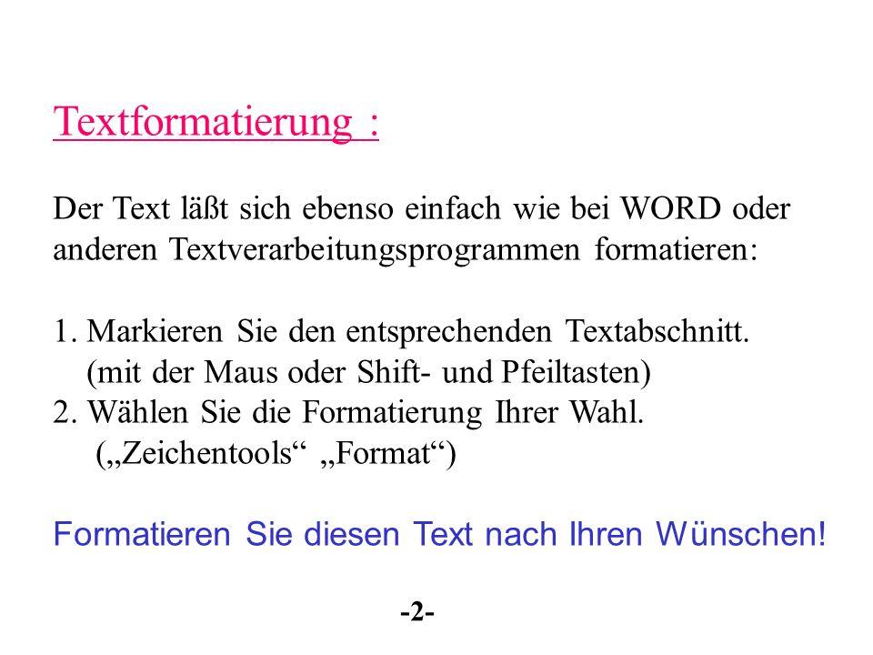 Textformatierung : Der Text läßt sich ebenso einfach wie bei WORD oder