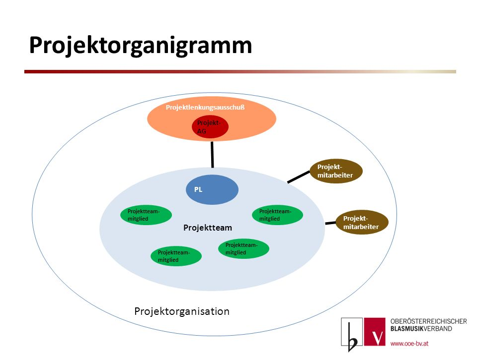 Projektorganigramm Projektorganisation Projektteam PL
