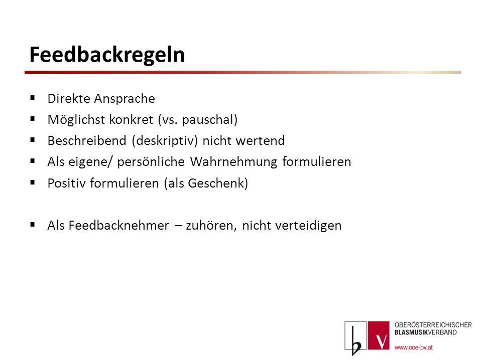 Feedbackregeln Direkte Ansprache Möglichst konkret (vs. pauschal)