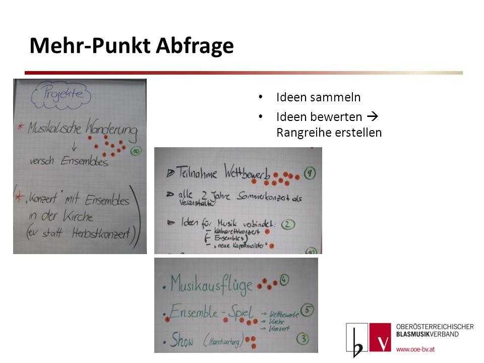 Mehr-Punkt Abfrage Ideen sammeln Ideen bewerten  Rangreihe erstellen
