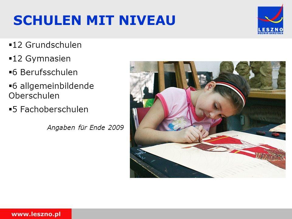 SCHULEN MIT NIVEAU 12 Grundschulen 12 Gymnasien 6 Berufsschulen