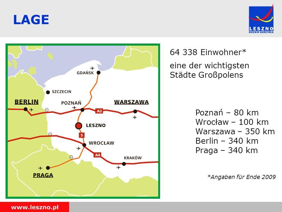 LAGE 64 338 Einwohner* eine der wichtigsten Städte Großpolens