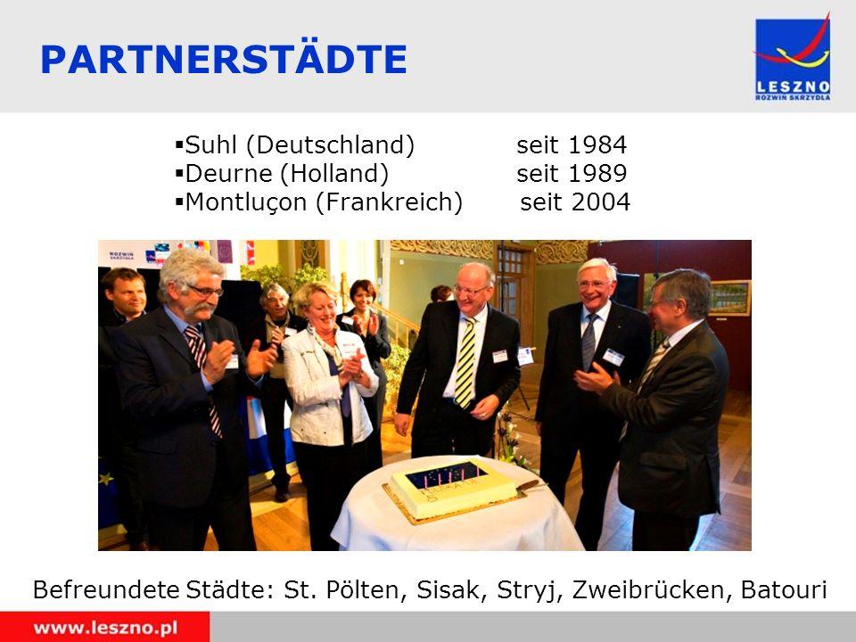 PARTNERSTÄDTE Suhl (Deutschland) seit 1984 Deurne (Holland) seit 1989