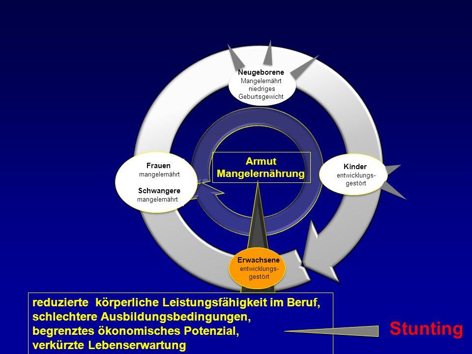 Stunting reduzierte körperliche Leistungsfähigkeit im Beruf,