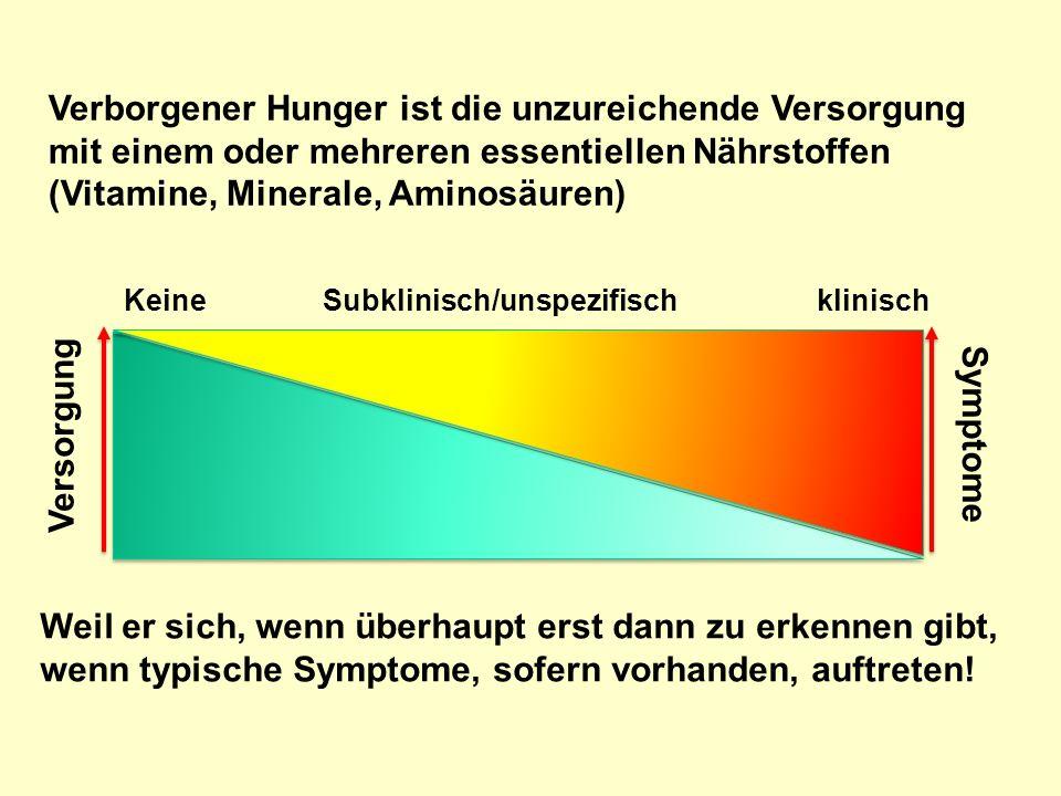 Verborgener Hunger ist die unzureichende Versorgung mit einem oder mehreren essentiellen Nährstoffen (Vitamine, Minerale, Aminosäuren)