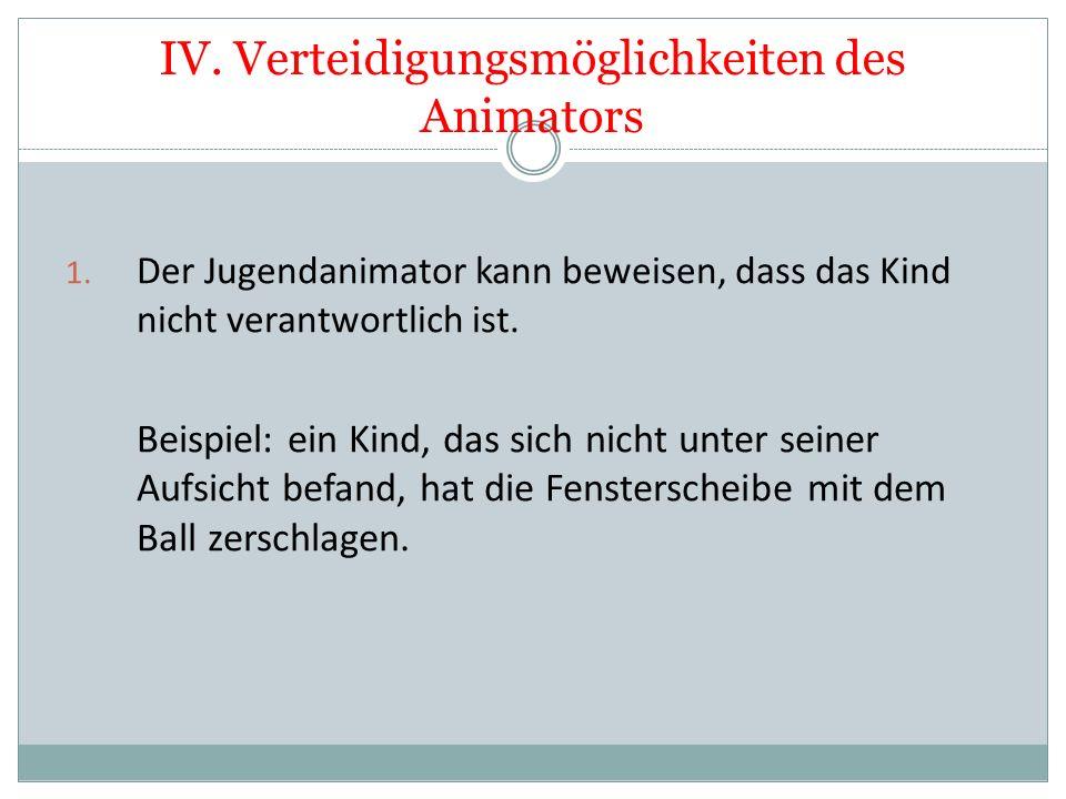 IV. Verteidigungsmöglichkeiten des Animators