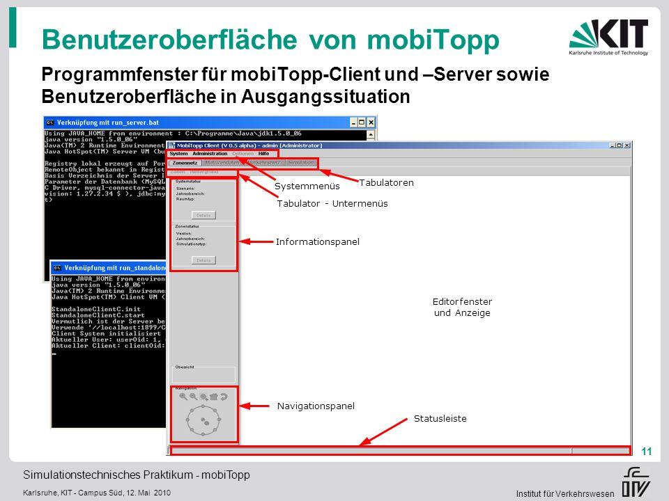 Benutzeroberfläche von mobiTopp