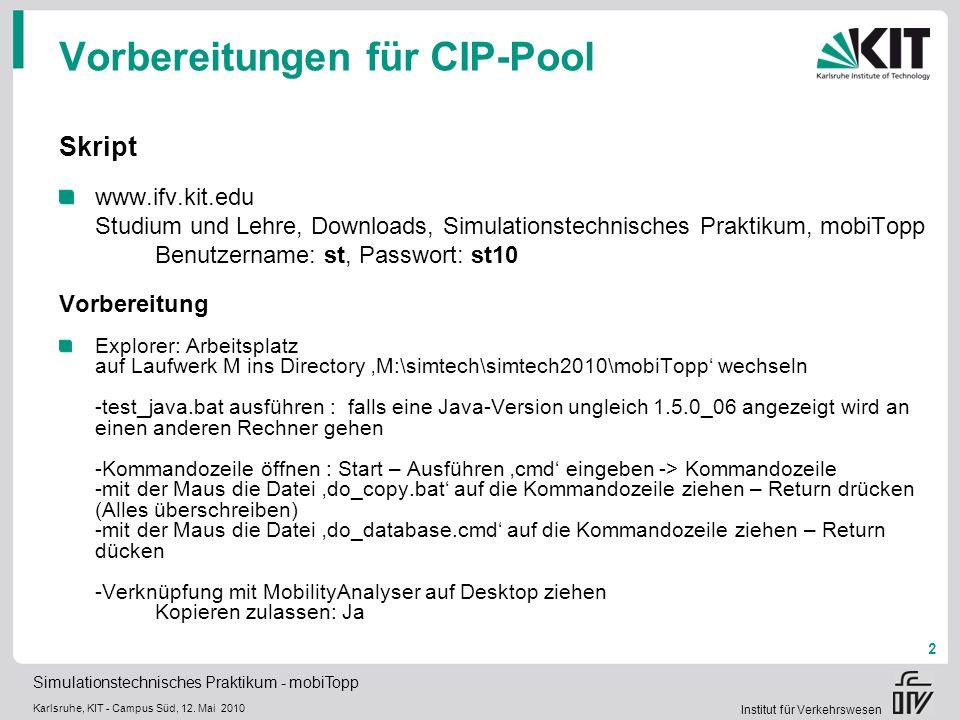 Vorbereitungen für CIP-Pool