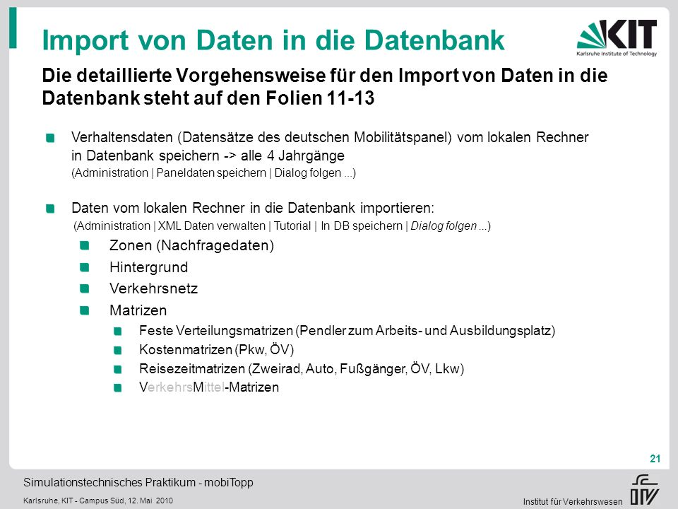 Import von Daten in die Datenbank