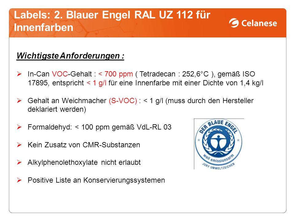 Labels: 2. Blauer Engel RAL UZ 112 für Innenfarben