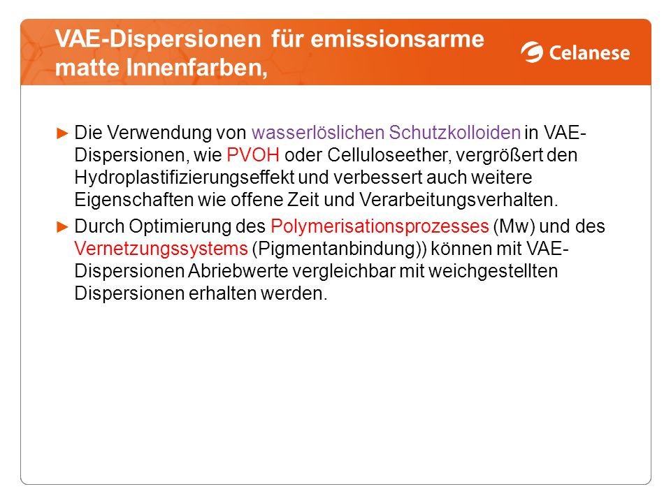VAE-Dispersionen für emissionsarme matte Innenfarben,
