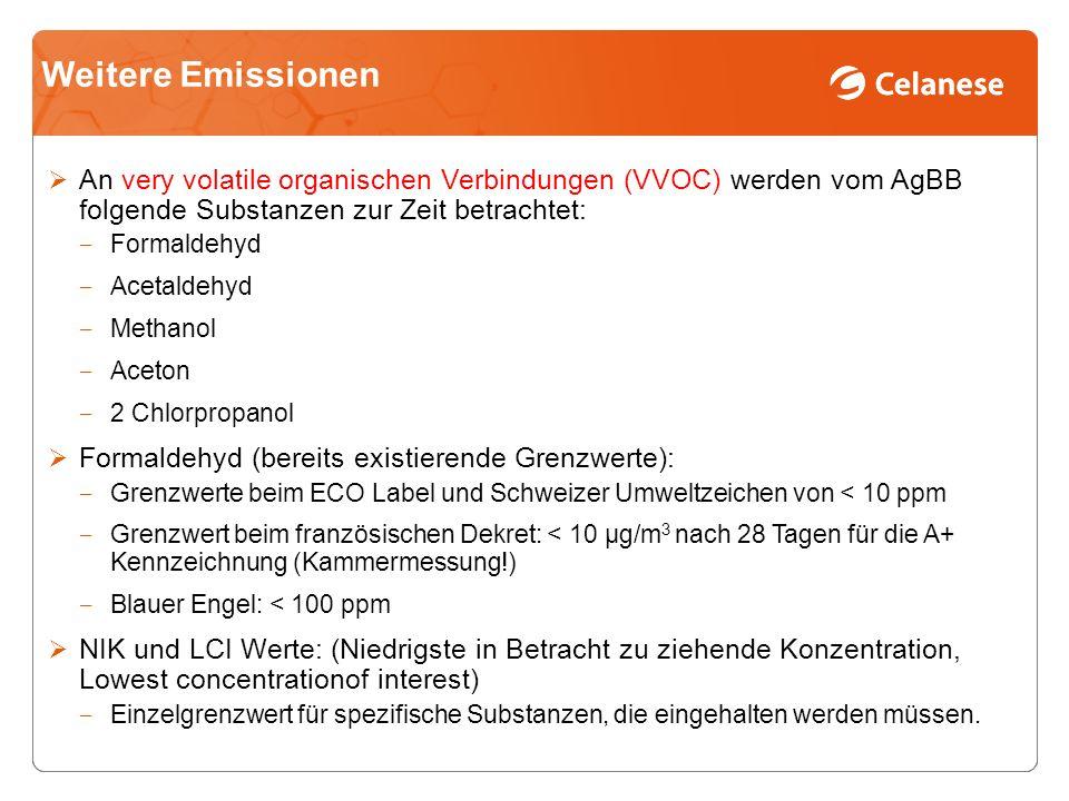 Weitere Emissionen An very volatile organischen Verbindungen (VVOC) werden vom AgBB folgende Substanzen zur Zeit betrachtet: