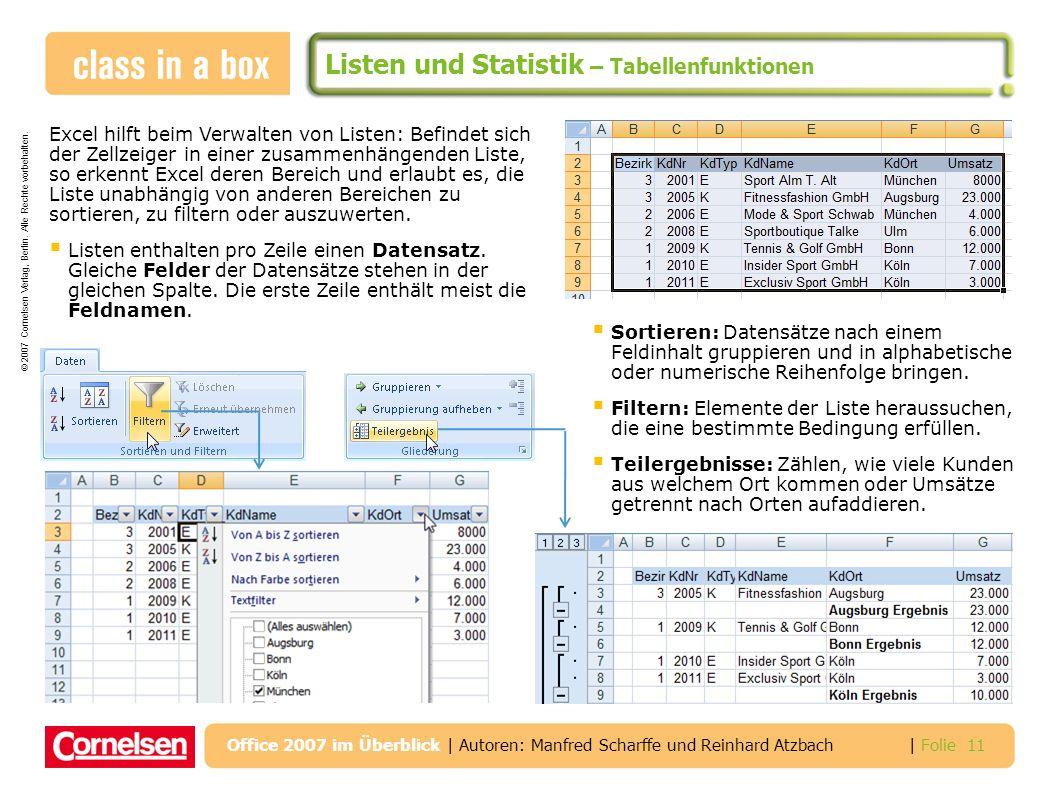 Listen und Statistik – Tabellenfunktionen