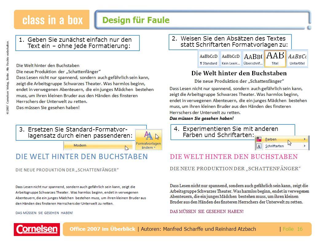Design für Faule 1. Geben Sie zunächst einfach nur den Text ein – ohne jede Formatierung: