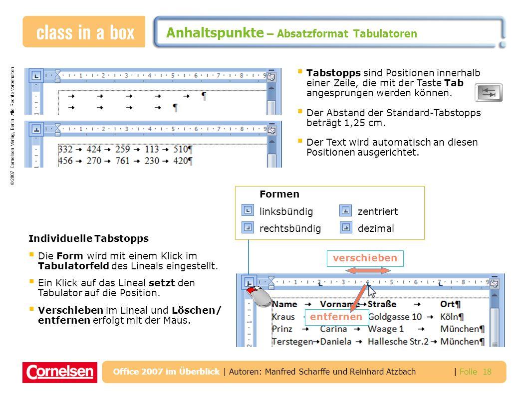 Anhaltspunkte – Absatzformat Tabulatoren