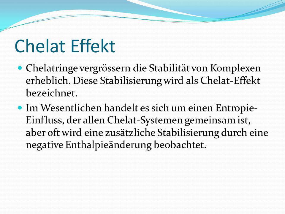 Chelat Effekt Chelatringe vergrössern die Stabilität von Komplexen erheblich. Diese Stabilisierung wird als Chelat-Effekt bezeichnet.
