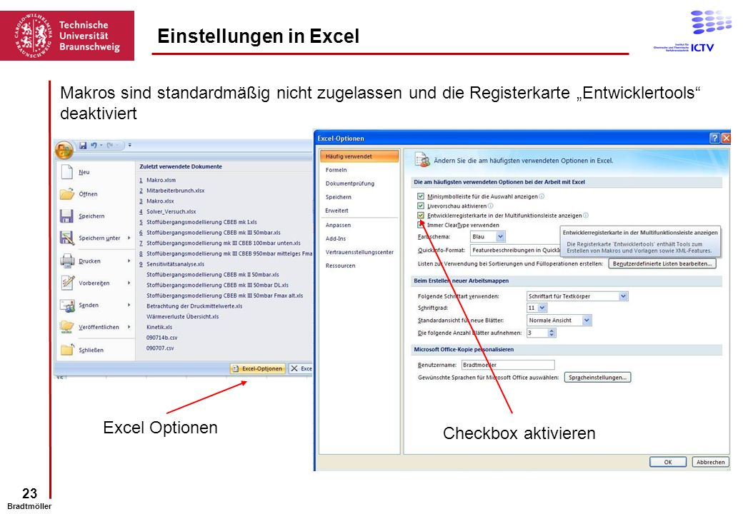 Einstellungen in Excel