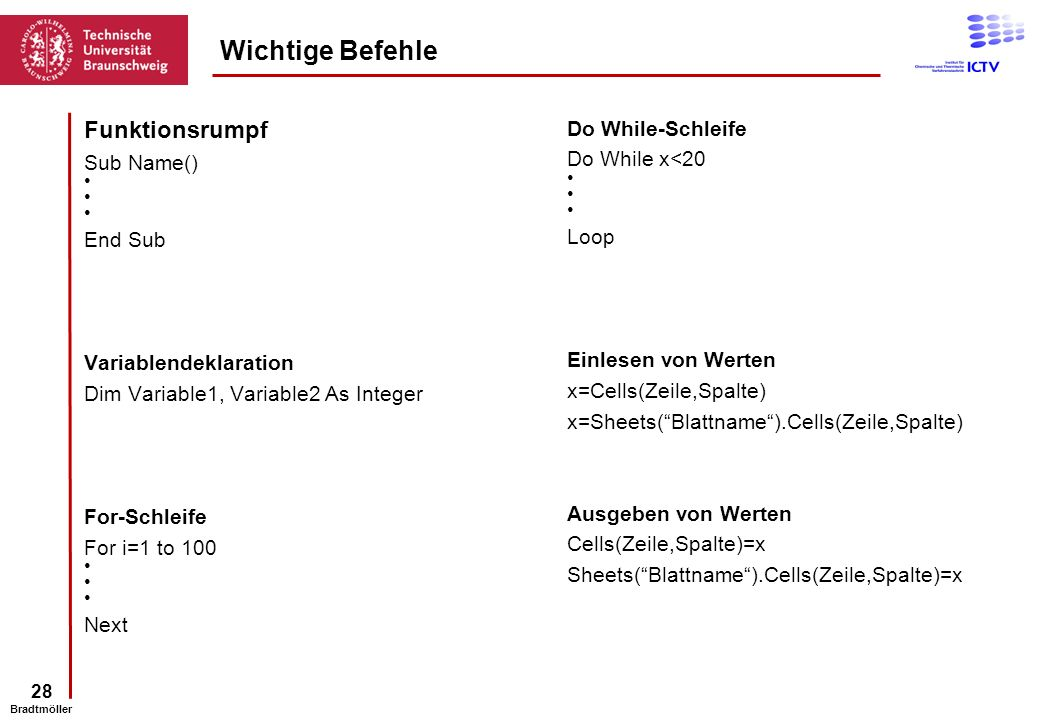Wichtige Befehle Funktionsrumpf Do While-Schleife Sub Name()