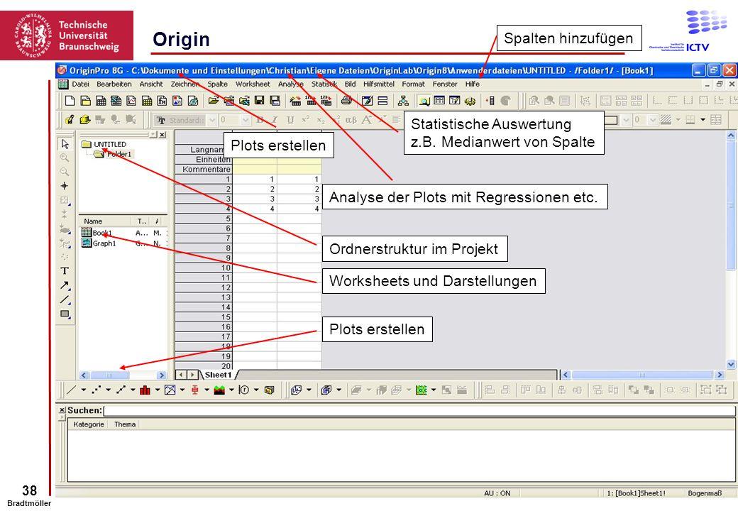 Origin Spalten hinzufügen Statistische Auswertung