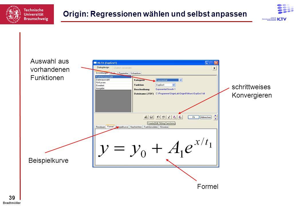 Origin: Regressionen wählen und selbst anpassen
