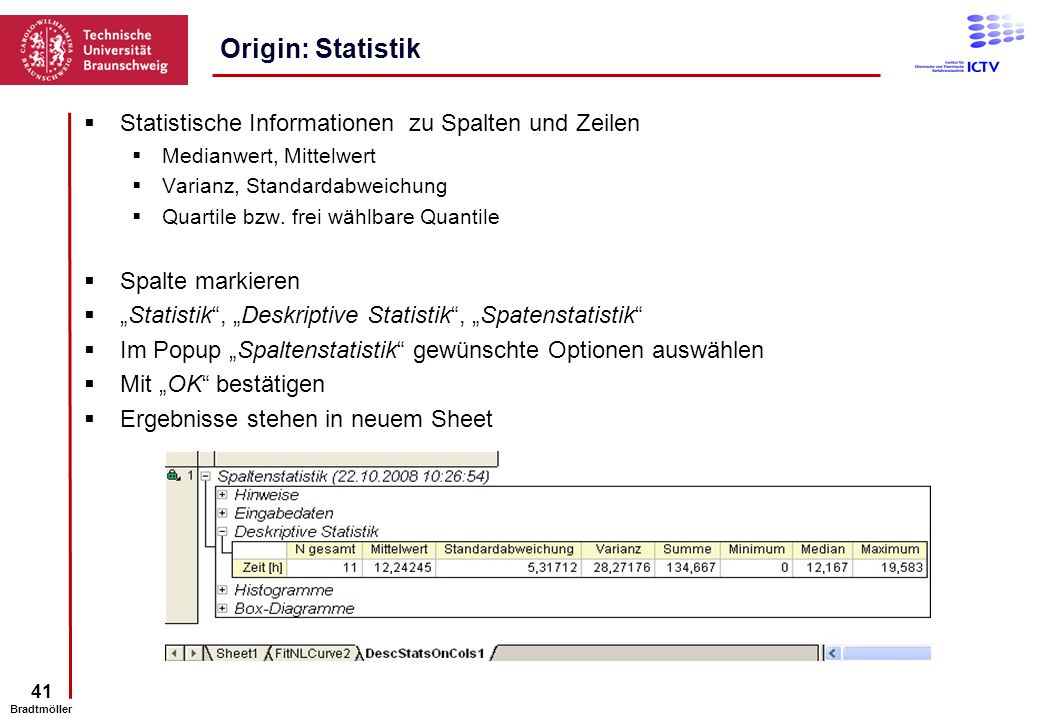 Origin: Statistik Statistische Informationen zu Spalten und Zeilen