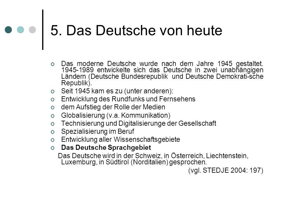 5. Das Deutsche von heute