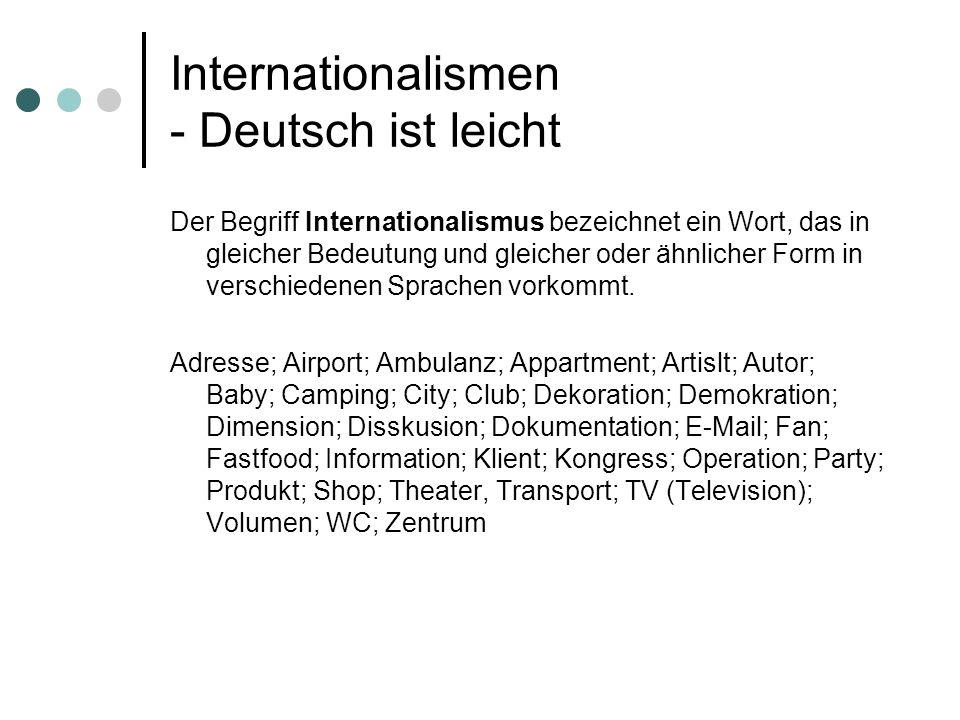Internationalismen - Deutsch ist leicht